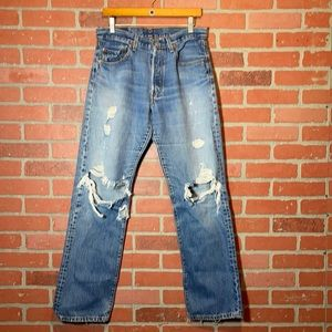 Levi's 501 Button Fly Destroyed High Rise Boyfriend Jeans 29